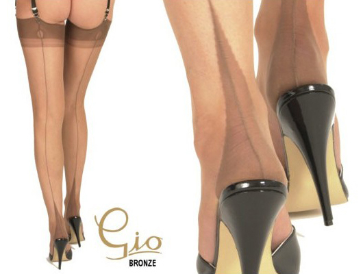 GIO - Point Fully Fashioned Stockings - Black - Shoe Size 10-11
